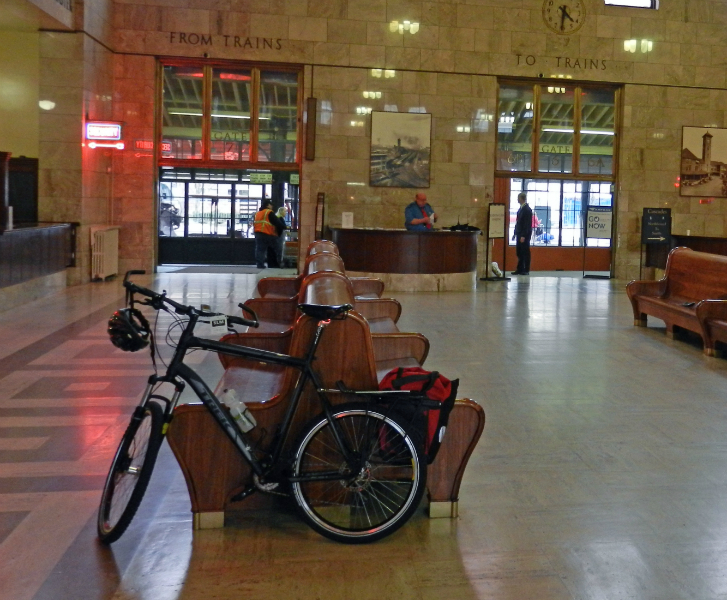 Bicycle at Amtrak Station on pre-trip March 4th